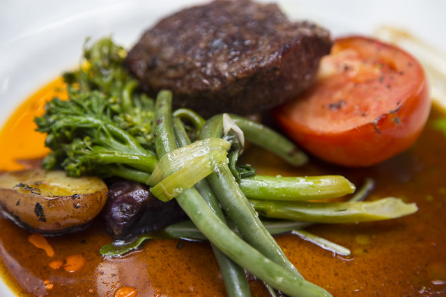 Steak with Broccolini - Teahouse in Stanley Park, Vancouver