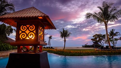 sunset sky beach water lamp pool evening borneo sabah flickrfriday sightforsoreeyes