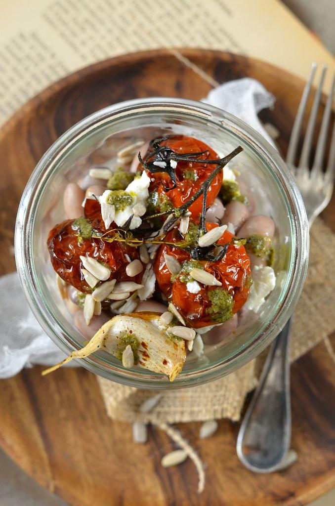 Salade haricot borlotti tomate confite pesto