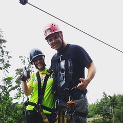 Cameron with the #ziplining #guide @highlifeadventures yesterday. #dare