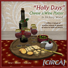 "@ Twisted Krissmuss ~ [CIRCA] - ""Holly Days"" - Cheese & Wine Platter - In Hickory Wood"
