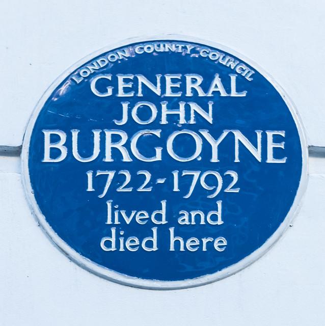 John Burgoyne blue plaque - General John Burgoyne (1722-1792), lived and died here
