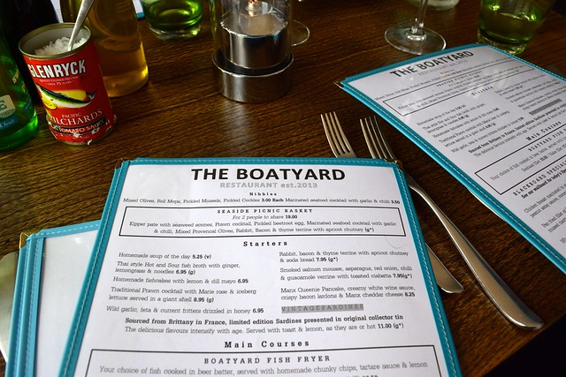 Menus at The Boatyard, Isle of Man