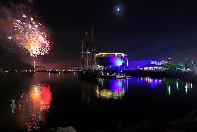 Fireworks open Summerfest as seen from Pier Wisconsin