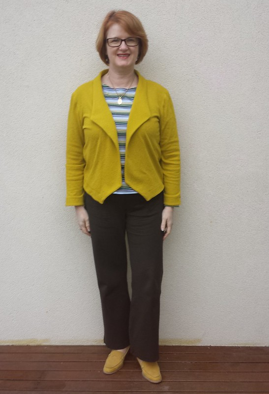 Grainline Morris blazer in knit from Darn Cheap Fabrics with Liesl and Co Maritime tee and Style Arc Linda pants