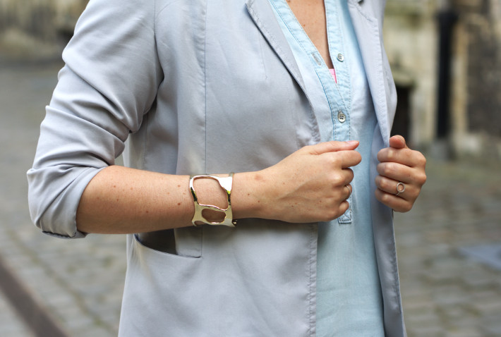 gold cuff, dove grey blazer