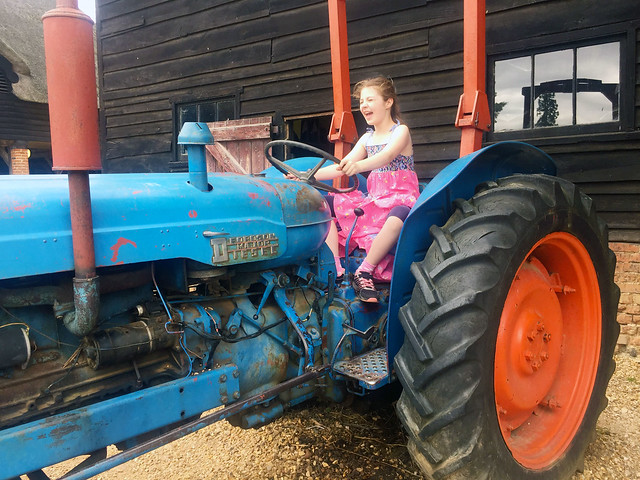 Evie on the tractor