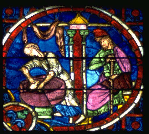 stained glass in Laon Cathedral, France