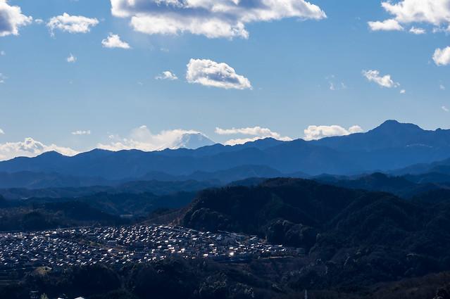 我街越しに富士山と大岳山@金刀比羅神下