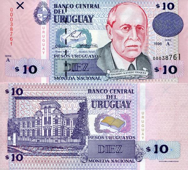 10 Pesos Uruguayos Uruguaj 1998