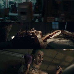 Potential trailer spoilers...   Anybody else notice The #Joker was also in a few earlier scenes from the #SuicideSquad trailer? The manufacturing floor scenes and the hospital shootout scenes (i.e. tats & purple gloves torturing #HarleyQuinn, pre-HQ, as h