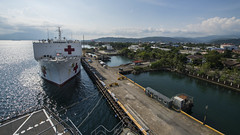 USNS Mercy (T-AH 19) sits along the pier at Subic Bay, Aug. 4. (U.S. Air Force/Senior Airman Peter Reft)