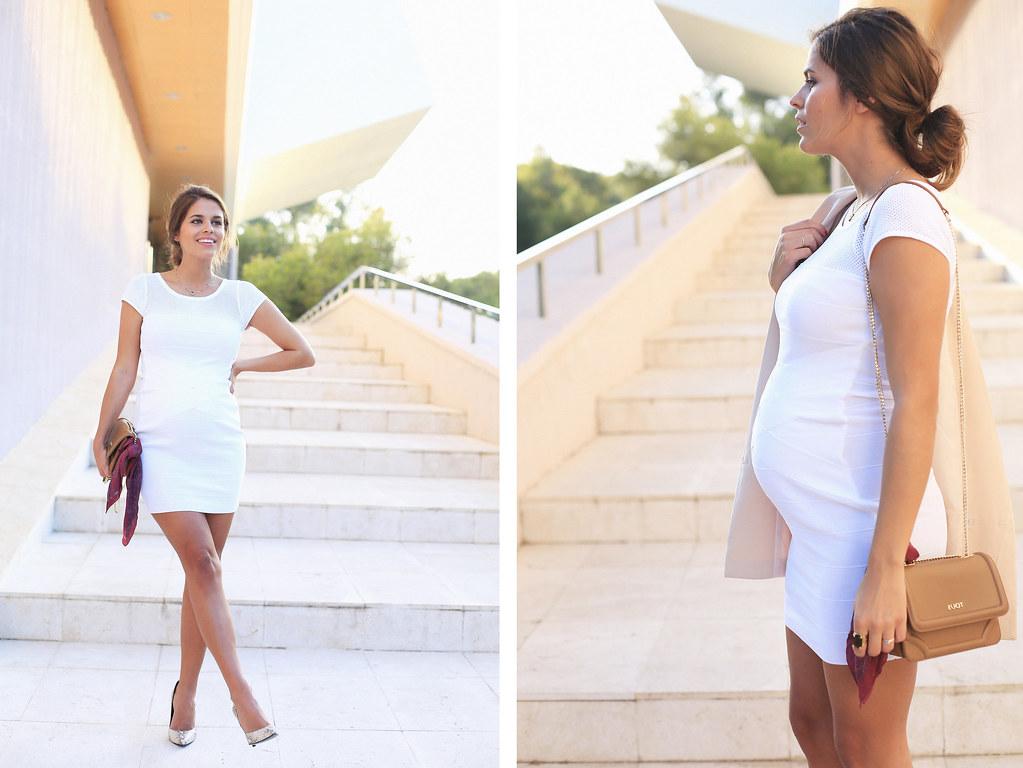 DEF vestido blanco corto pegado