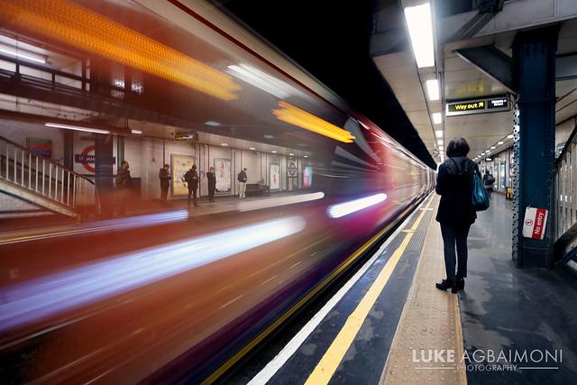 Train arrives at St James's Park Station London