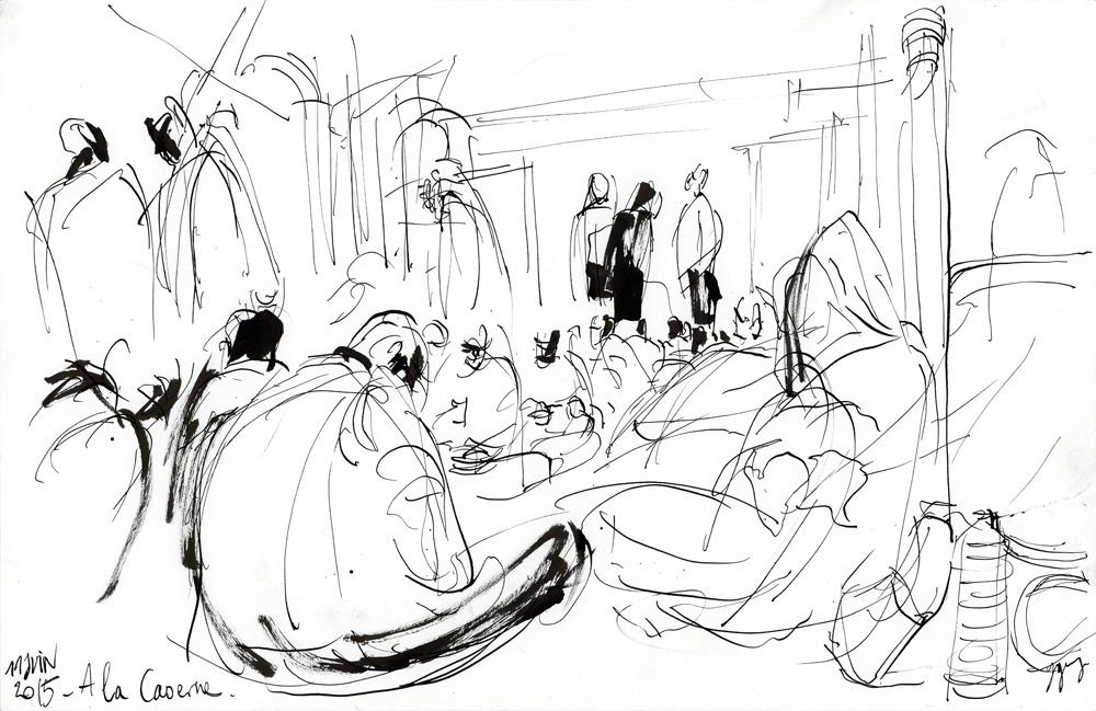 Le Repas à l'occupation de la caserne. Migrants de la Chapelle et d'Austerlitz. Paris, 11 juin 2015 © Laura Genz