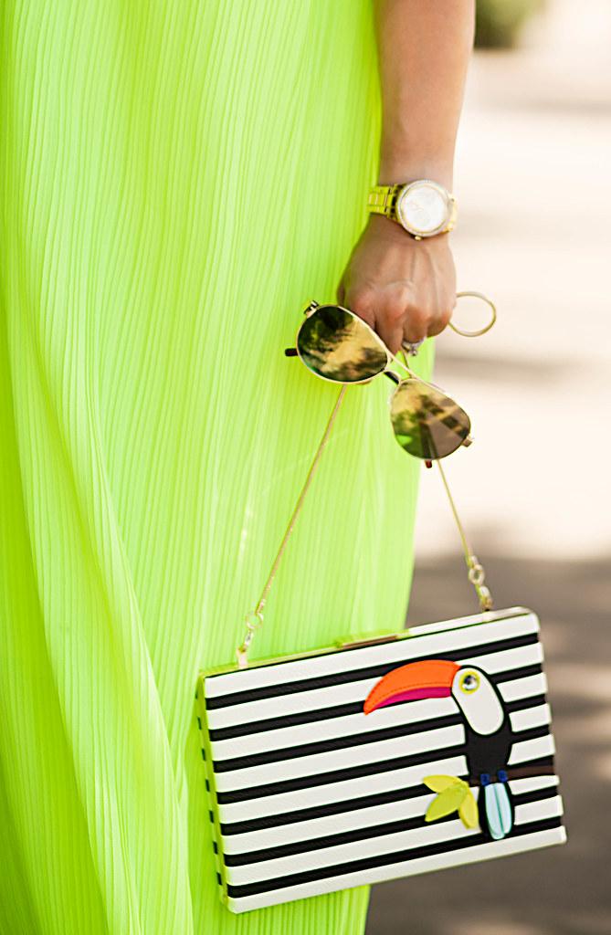 cute & little blog | petite fashion | yellow pleated chiffon maxi dress, kate spade toucan clutch, green mirror aviators | summer outfit
