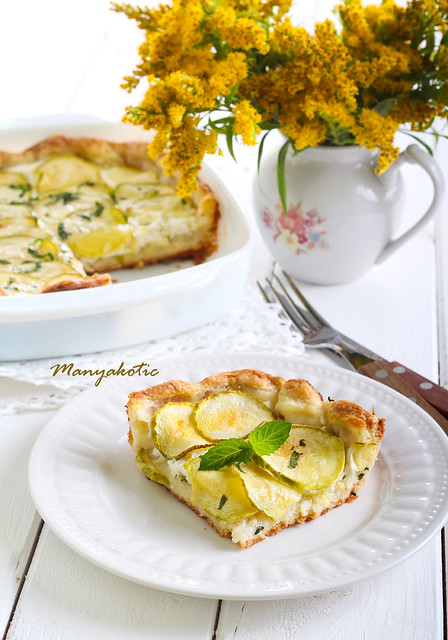 courgette, herbs and cheese tart