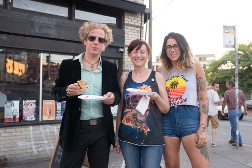 Pete Capponi, Elaine Grabicki, and Jen Knight eat Wicked Pies