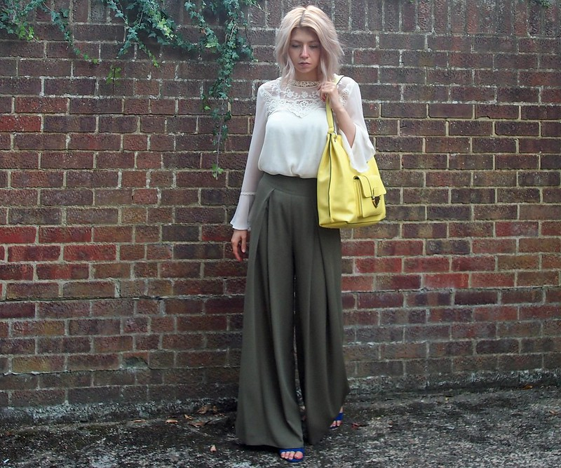 Khaki, Palazzo Pants, '70s Style, Bell-Sleeve Blouse, M&S, Neon, Tote, High-Waisted, SS15, AW15, How to Wear, UK Fashion Blogger, Personal Style Blog, Stylist, Outfit Ideas, Style Inspiration, Sam Muses