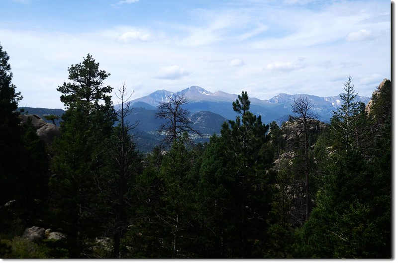 Overlooking to Longs Peak from Lumpy Ridge Trail