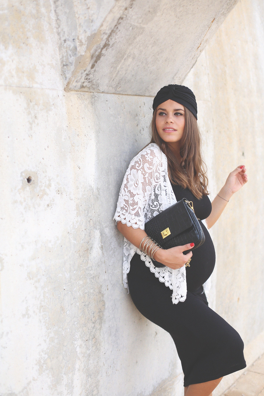 12. long black dress lace top jacket boho chic outfit - jessie chanes - pregnancy