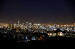 The Griffith Observatory and Downtown Los Angeles