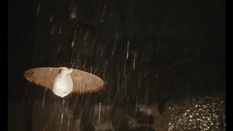 王家衛映画『花様年華』 の一場面。古びた街灯に雨が打ちつける場面。クリストファー・ドイル撮影。