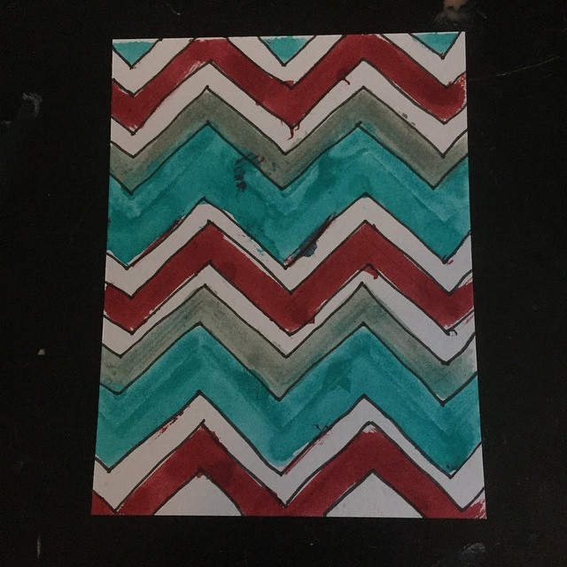 Day five of #icad2015 card making.  For this one I was inspired by day four (which I made with the intention of cutting the circles out) but I really liked the chevron design with those colors.  This one came out a bit messier but I still like it.