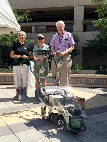 SBIR grant recipients Ann Adams and Liz Brensinger with SBIR program coordinator Charles Cleland