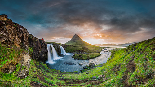 sunset sky panorama cliff cloud sun lake green water grass sunshine rock stone sunrise river dark dawn waterfall iceland photographer angle dusk wide dramatic sunny kirkjufell