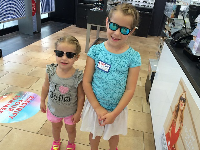 Too cool. Trying on shades.