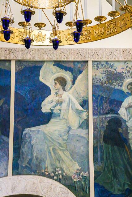 Angel painting in Marfo-Mariinsky Convent, Moscow, Russia モスクワ、マルフォ・マリンスカヤ修道院の天使のフレスコ画