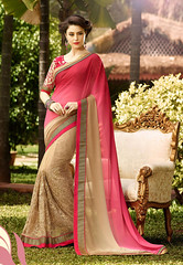 Shaded Pink and Beige Faux Georgette and Net Saree