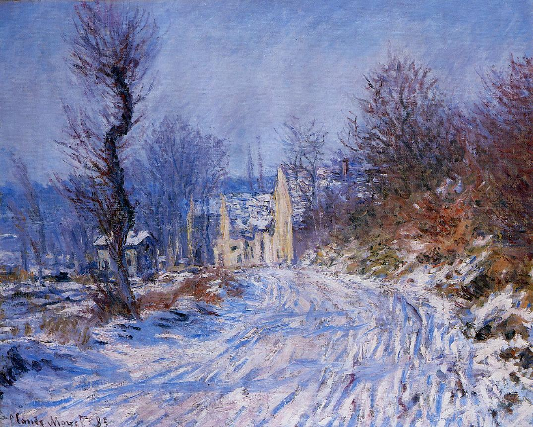 Road to Giverny in Winter by Claude Oscar Monet - 1885