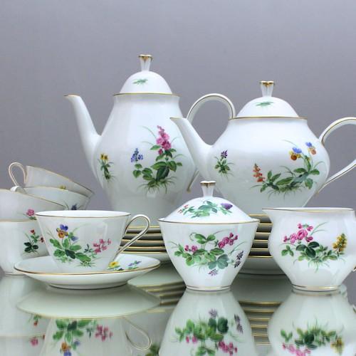 Meissen, Kaffeeservice, Teeservice, Wiesenblumen, Arthur Findeisen, 1950er, Paul Börner, Kaffeekanne, Teekanne, Gedeck