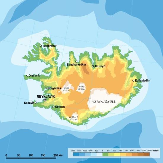 Iceland, topographic map | GRID Arendal