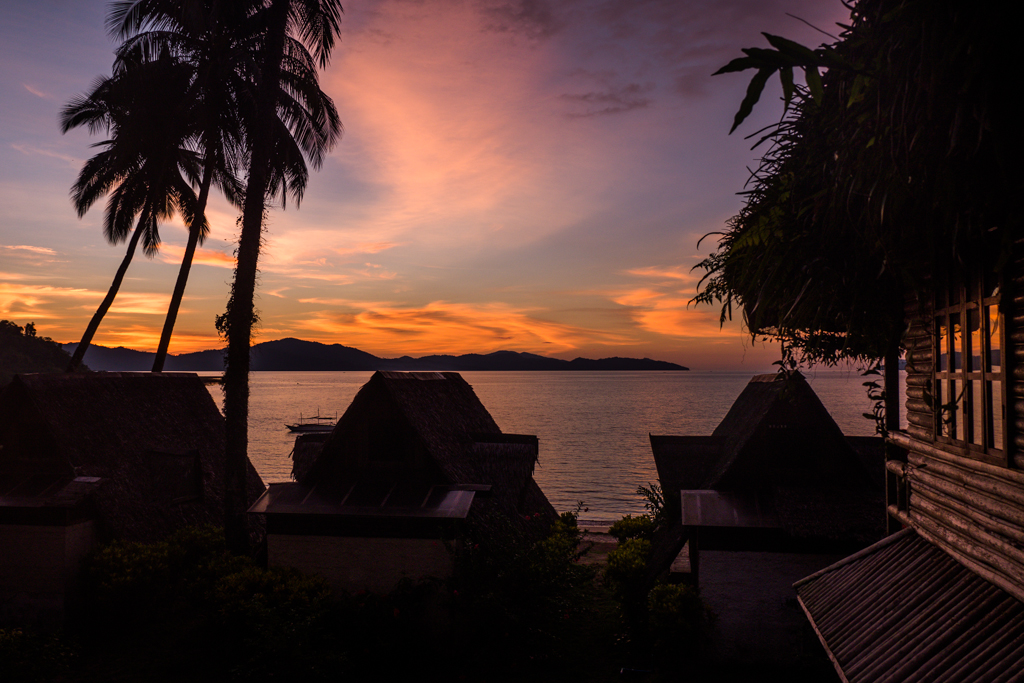 View of the sunset from Deep Gold Resort on the beach in Port Barton, Philippines-2