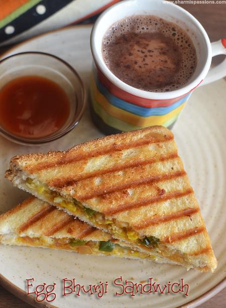 Grilled Egg Bhurji Sandwich Recipe
