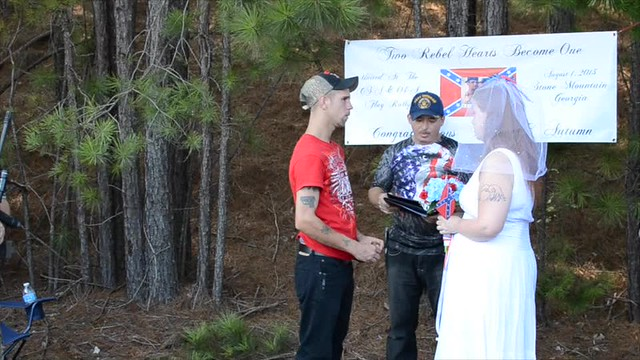 Wedding at Confederate rally