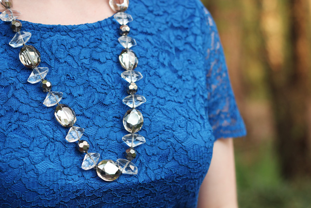 Cobalt Blue Lace with a Silver Beaded Stella & Dot Necklace