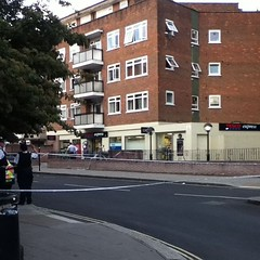 Goings on at Tesco Express Belsize Rd. Apparently some scrapping and an assault. Road taped off.