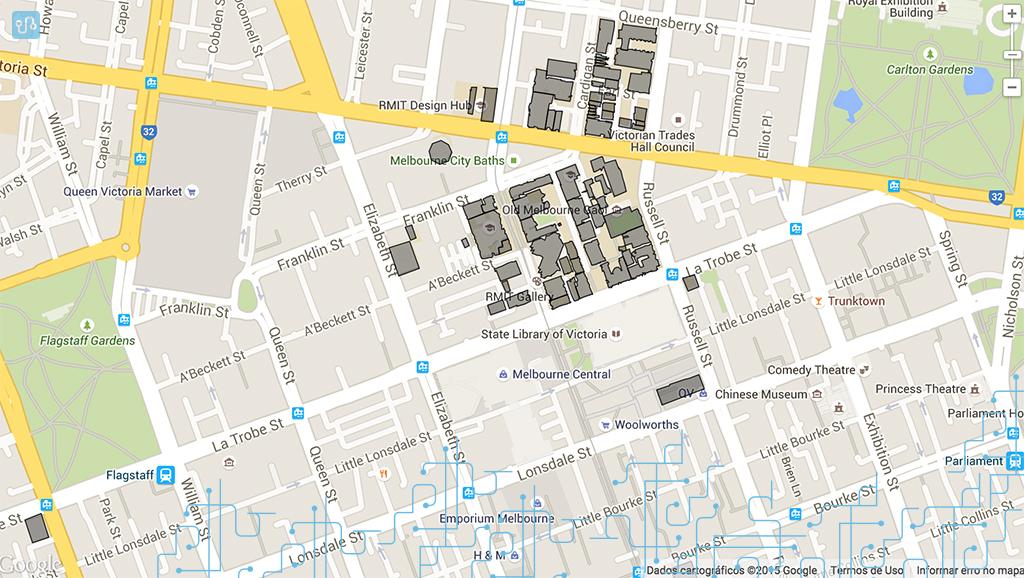 Prédios da RMIT no campus Melbourne City