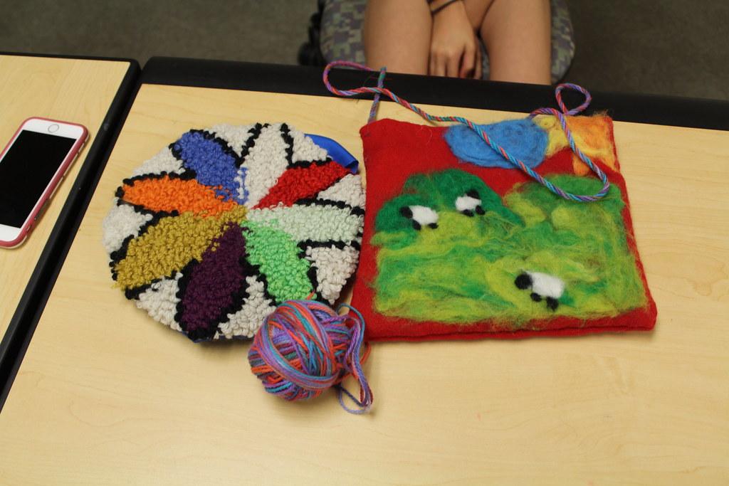 Needle felting, Punch Rug Hooking, Dyed Yarn