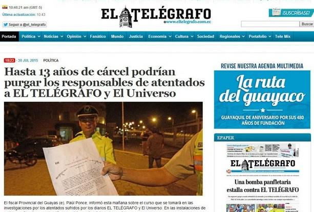 Explotan bombas afuera de dos periódicos en Ecuador