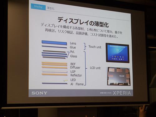 Xperia アンバサダー ミーティング スライド : Xperia Z4 Tablet では ディスプレイの薄型化のため、構成する多くの部品に対して 1つ1つ 見直しを行いました