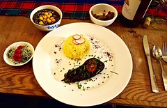 Tumeric Rice, Tareh, Seer Torshi, Stuffed Eggplant