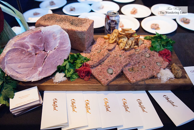 Large display version of the charcuterie plate from Olmstead; serving: Jambon Royale, Roasted & rubbed pig loin, Tony Whole Pig Croquette,  Shoulder rilletes, Troncillito Farms Cider braised belly, Pâté de Porc Câpres