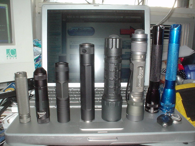 My current flashlight collection, Sony DSC-U30
