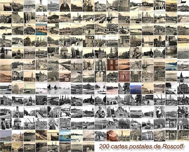 Roscoff - Mosaique de cartes postales anciennes