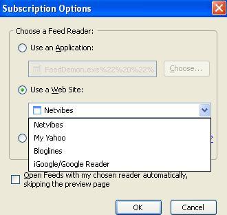Firefox 2.0 default online aggregators